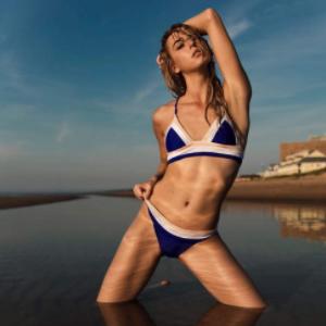 c87f5efbbb924 Amazon.com  RELLECIGA Women s Lattice Back Longline Triangle Bikini ...