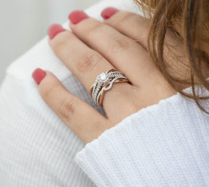 Amazoncom Sterling Silver Criss Cross Infinity Ring Guard Enhancer