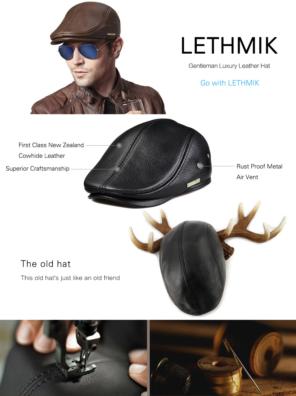 ede9afc1a60 LETHMIK Hats Collection. LETHMIK Flat Cap Cabby Hat Genuine Leather Vintage  Newsboy Cap Ivy Driving Cap
