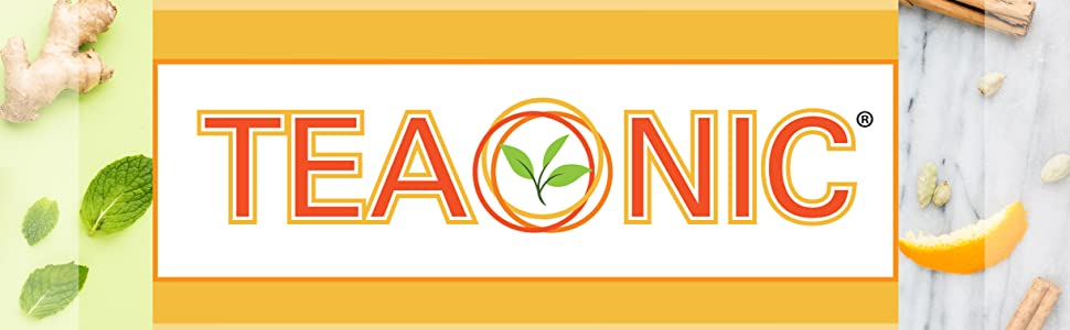 Teaonic Herbal Tea Tonic Drink Brand Logo Banner Herbs Ingredients