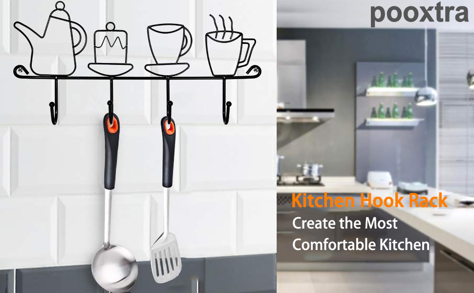 Decorative Wall Hooks for Coats | 4 Hook Coffee Mug Wall Rack | Hooks  Rack/Holder for Grill Accessories Kitchen Utensil | Wall Mounted Key Holder  Key ...