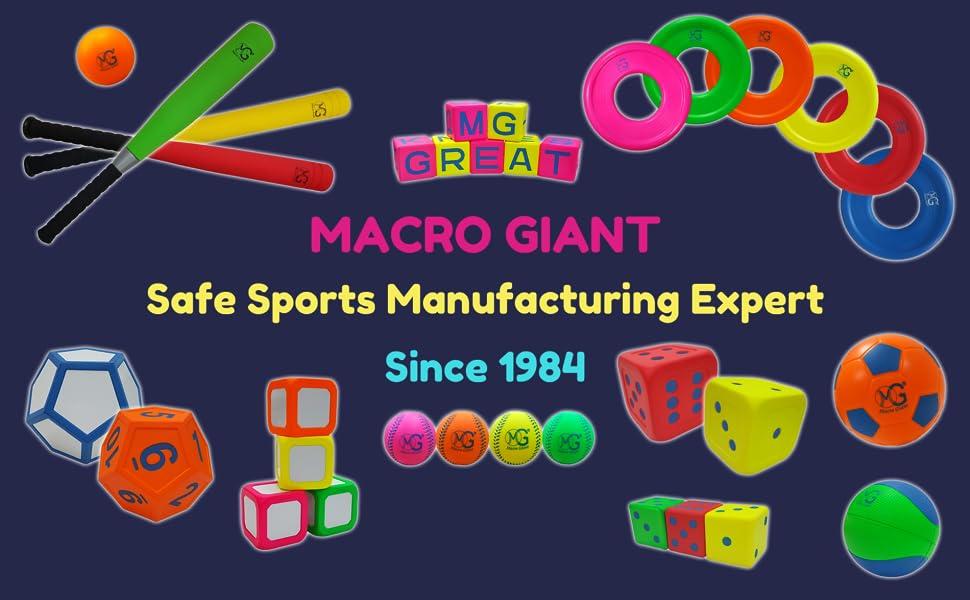 MG MACRO GIANT PU SAFE SPORT FOAM BASEBALL SOCCER BASKETBALL FOOTBALL DICE