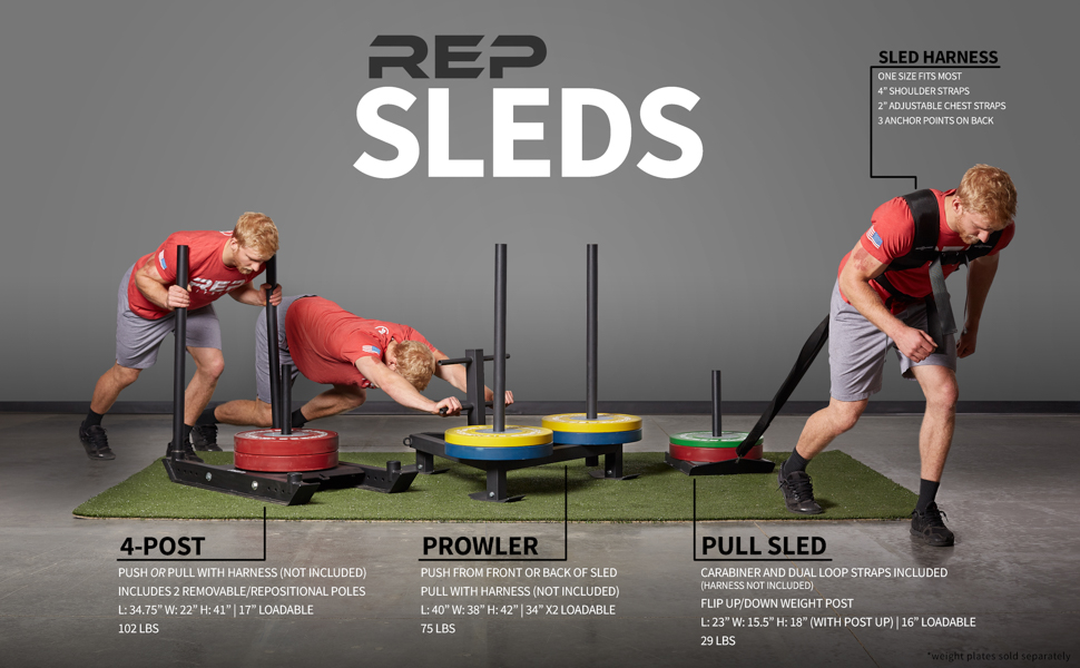 Rep Weight Sleds for Conditioning, Cross Training, and Football - Power  Sled and Adjustable Pull Sled with Optional Harness