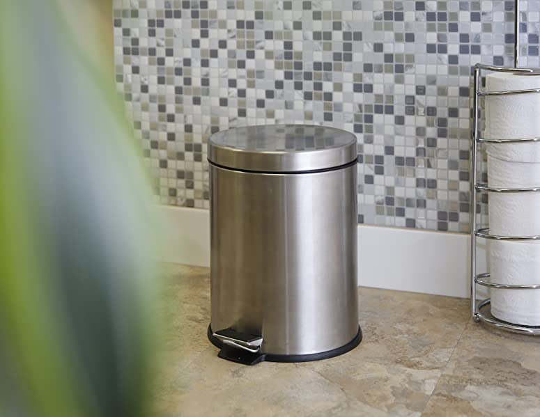 BINO Stainless Steel 1.3 Gallon / 5 Liter Round Step Trash Can, Brushed  Steel