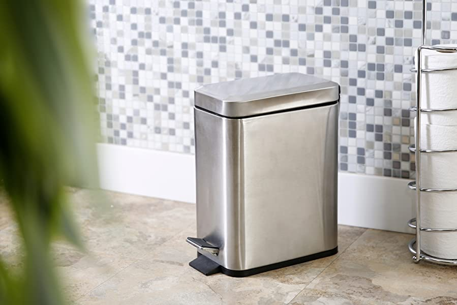 bino stainless steel 13 gallon 5 liter rectangle step trash can brushed steel