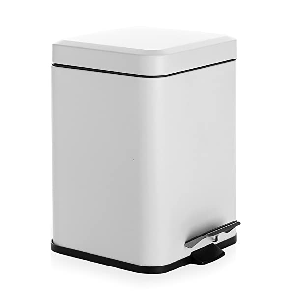 Bino Stainless Steel 1 6 Gallon 6 Liter Square Step Trash Can Matte White