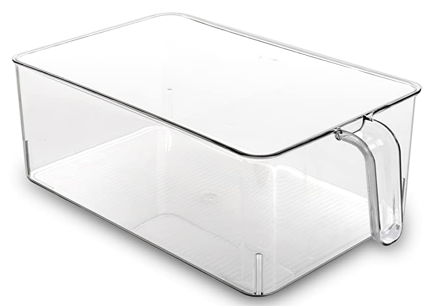 Pantry Fridge Cabinets L , M , S Plastic Organizer Bins set of 3 handles