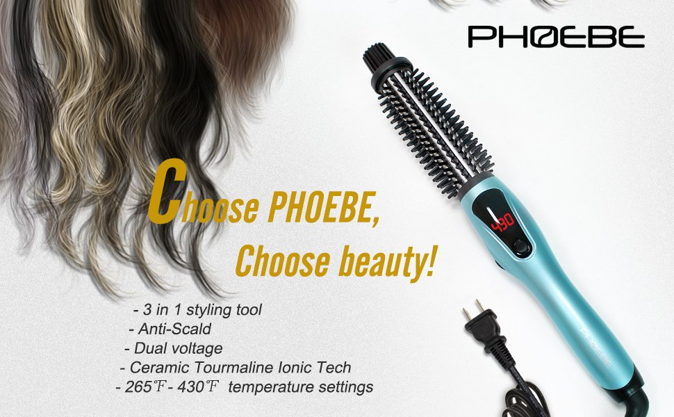 Amazon Com Phoebe Curling Iron Brush Dual Voltage Travel