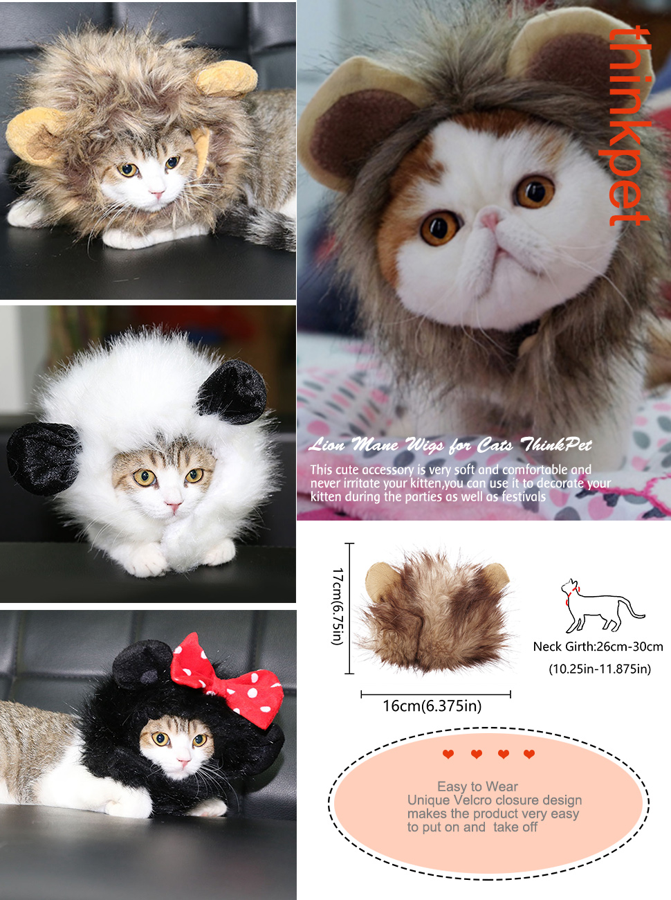 Mane Wigs Comfortable Party Festival Costume for Cats ThinkPet