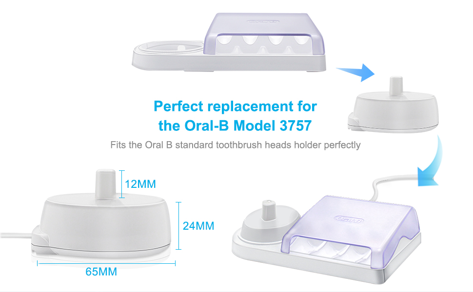 IBERLS Replacement Charger Type 3757 for Braun Oral-B Electric Toothbrushes, Waterproof Inductive Charging Base Fits Oral B Genuine Pro SmartSeries ...