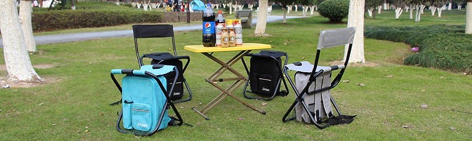 Nadalan al Aire Libre sillas Plegables Mochila de Pesca Silla//port/átil Taburete//Silla Plegable de Camping con Doble Capa Tela de Oxford Bolsa t/érmica para Pesca//Playa//Camping//casa//Viaje