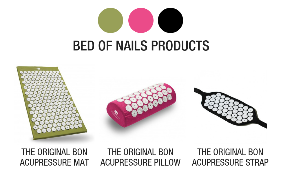original bed of nails bon acupressure mat pillow strap for neck back pain relief massage