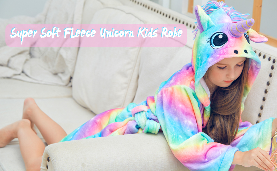 69f05625b1 Beinou Unicorn Kid Robes Fleece Kid Bathrobe Flannel Hooded Sleepwear for Girls  Soft Long Shower Robe