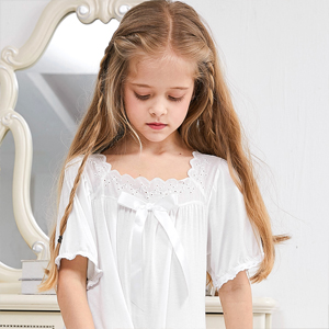 Beinou Nightgowns for Girls Beige White Cotton Long Nightdress Hollow Flower Bowknot Sleep Dress for 4-8 Years