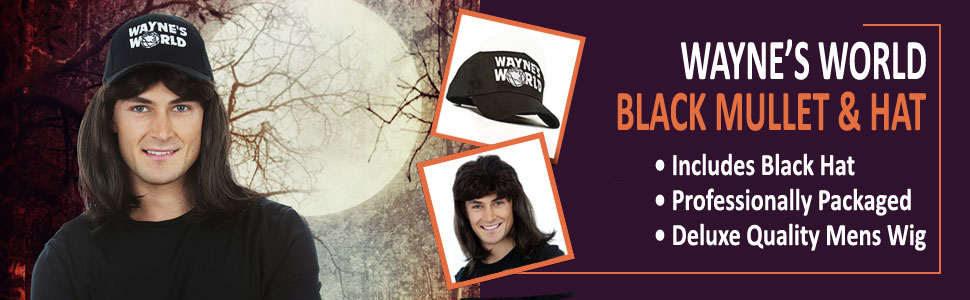 abcef7b9d32b7 Waynes World Wig – Wayne Campbell Hair with Cap Hat– Black Mullet Wigs for  Men