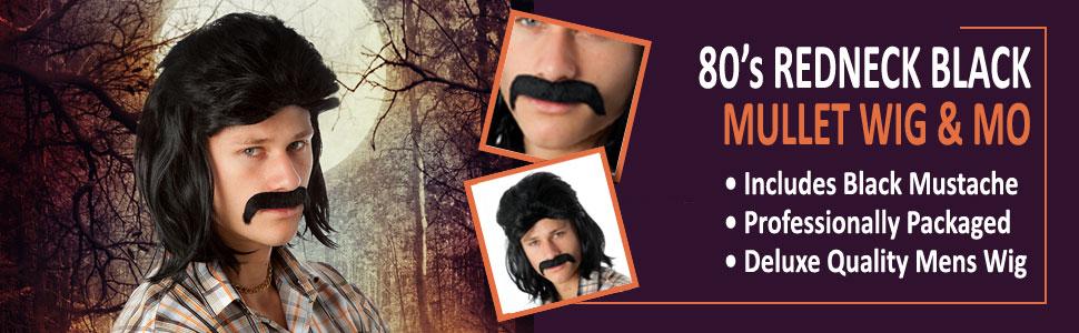 f76edf6f68dd8 80 s Mullet Black Wig Dr Disrespect White Trash Redneck Costume Wigs Men  Halloween Wigs And Mustache