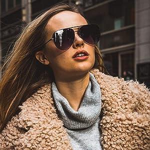 large women pilot style new sunglasses trendy
