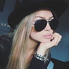 cute women black aviator sunglasses