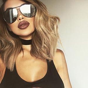 cute oversized silver lens aviator sunglasses