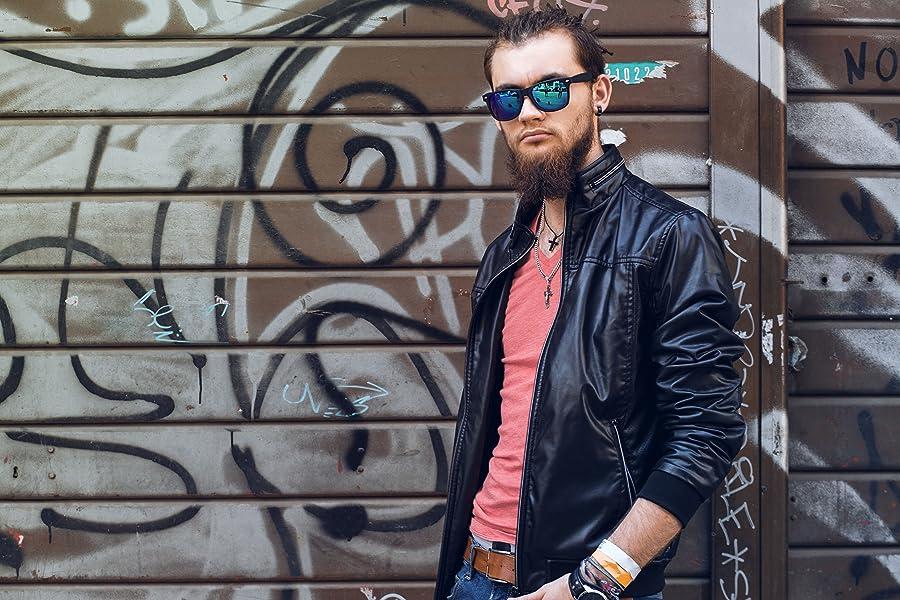 3b36cc30b0 Amazon.com  Premium Square Style Mirrored Lens Sunglasses (Black ...