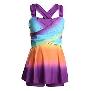 Donnalla Womens Color Block Tankini Swimsuits Rainbow Swimwear Two Piece Swimdress with Shorts