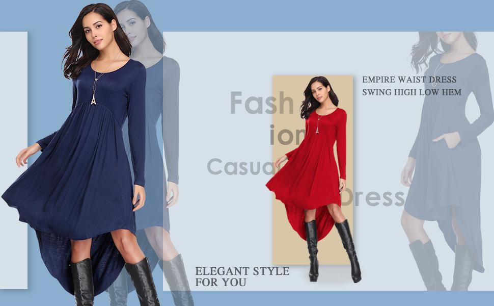 622c27a967c LARACE Women s Casual Long Sleeve Pockets Loose Pleated High Low Swing Dress