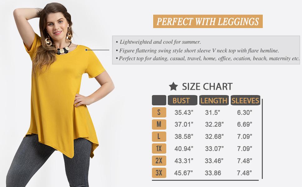 d1c458e18e8 LARACE Women Casual T Shirt V-Neck Tunic Tops for Leggings at Amazon ...
