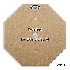 Dart-Stop backboard pre-installed, recessed dartboard bracket, wobble-free