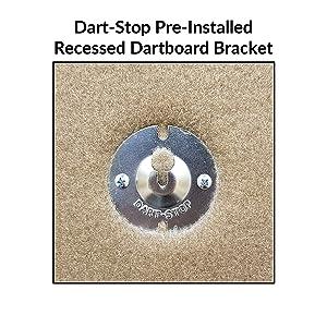 Dart-Stop pre-installed, recessed dartboard bracket