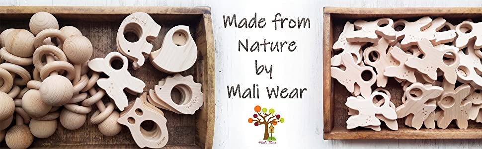 natural organic made in USA wooden toys teethers teething clip strap wooden rattle wood shop bannor