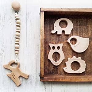 natural wooden teether on cip mape teeething ring maple teethers organic baby toys animals oils clip