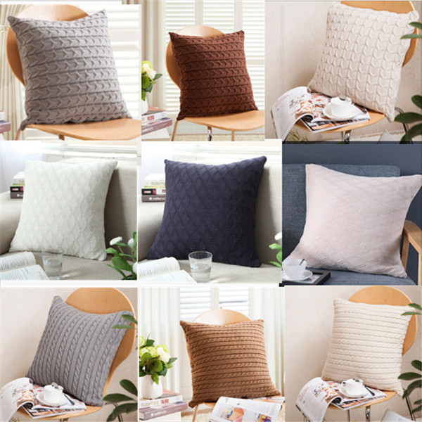 Amazon Isunshine Cotton Knitted Decorative Cushion Cover Double