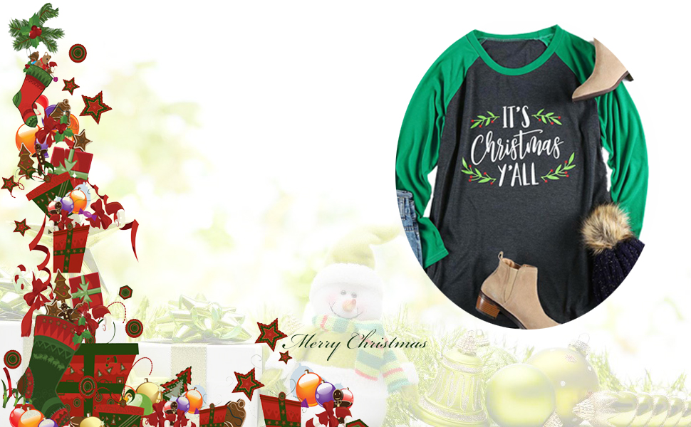 d485044b4f4 Plus Size It s Christmas Y all Baseball T-Shirt Womens 3 4 Sleeve O-Neck  Splicing Holiday Tees Tops
