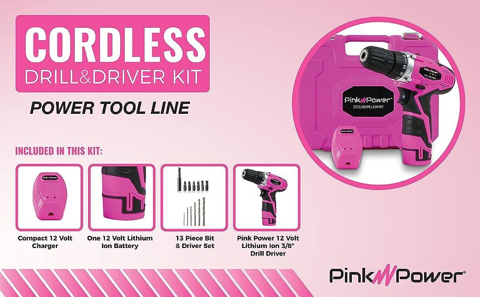Pink Power Drill 12 Volt Women