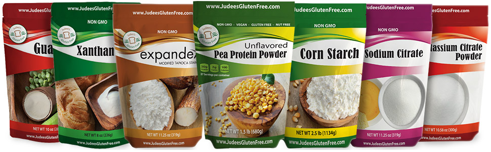 Judee's Gluten Free gluten and nut free ingredients, mixes and blends.