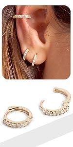 small hoops huggie cuff earring