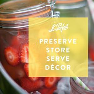 Le Parfait glass jar preserving storage decorating clamp lid quality airtight durable best top seal