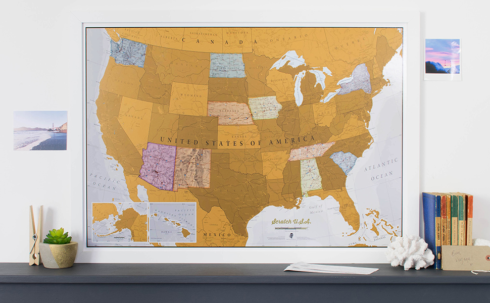This Is A Brilliant Concept Map Allowing Visited Destinations To Be Scratched Off Revealing The Beautifully Styled Up To Date Usa Map Underneath