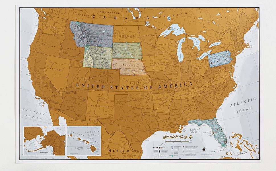 Amazon maps international scratch off map of the us usa wall this is a brilliant concept map allowing visited destinations to be scratched off revealing the beautifully styled up to date usa map underneath gumiabroncs Image collections