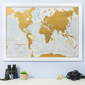 Image of scratch map hung on wall