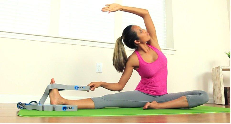 eceb84e3c5 Amazon.com : Riksar Yoga Fitness Strap Elastic 10 Loops Stretching + ...