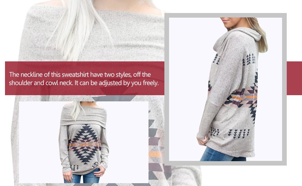 Minclouse Womens Long Sleeves Cowl Neck Tunic Tops Aztec Printed Blouse Sweatshirt Tees