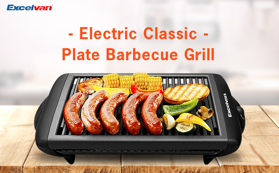 Amazon.com: Excelvan Indoor Electric Classic Plate Barbecue Grill ...