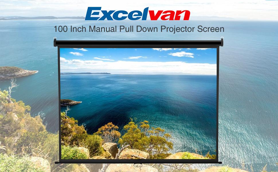 Amazon com: Projector Screen, Manual Pull Down, Excelvan