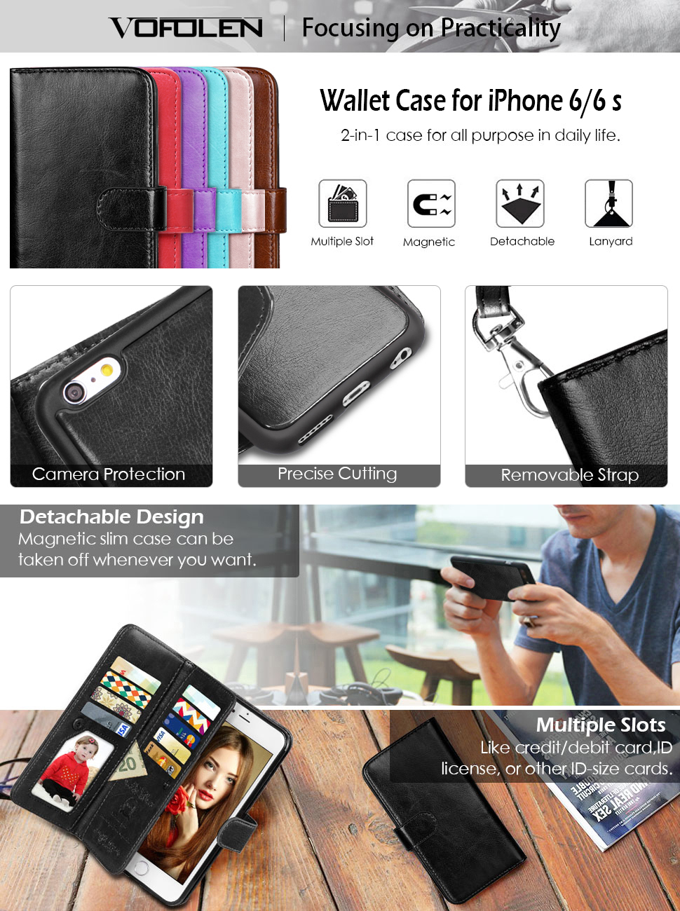 Download carmen villalobos wallpapers to your cell phone carmen - Vofolen 2 In1 Magnetic Pu Wallet With Detachable Slim Hard Case For Iphone 6 6s