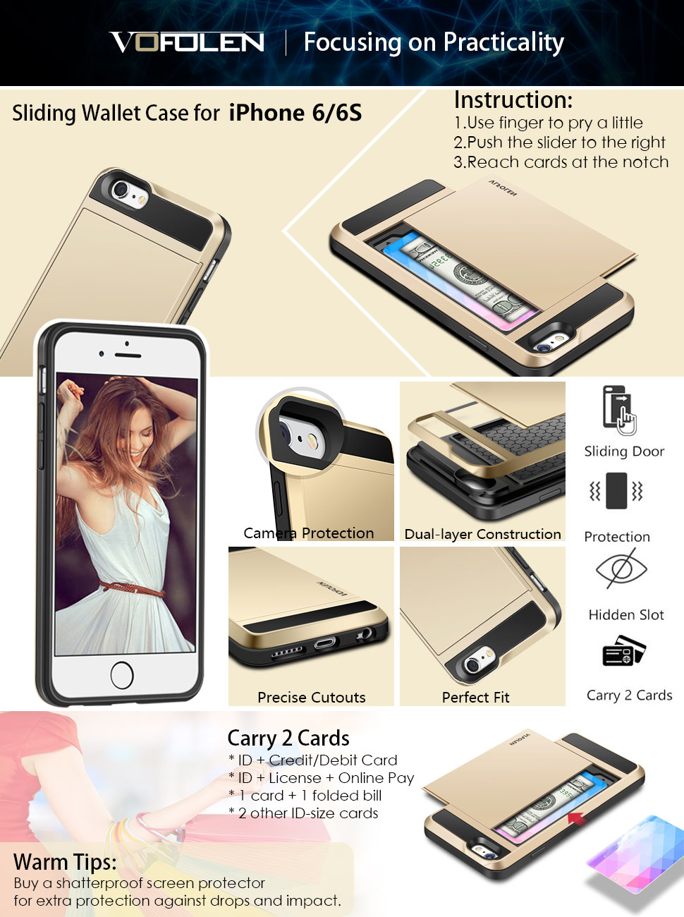 Iphone 6 Case Vofolen Impact Resistant Wallet Cover 2in1 Gravity Full Tempered Glass For Plus Sliding Hidden Pocket Card Holder 6s Gold