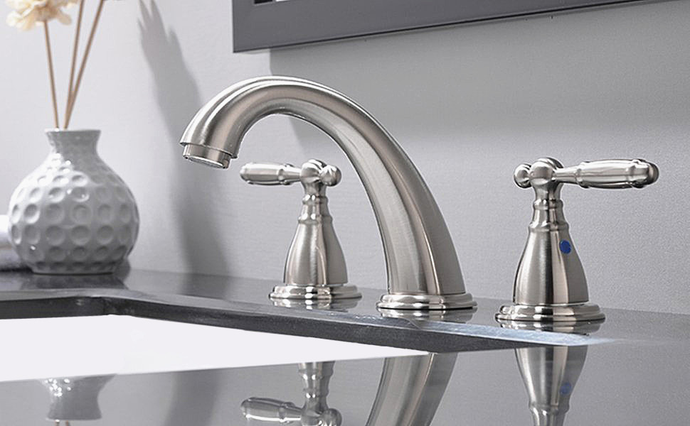 PHIESTINA Solid Brass Brushed Nickel Two Handle Widespread Bathroom ...