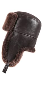 Zavelio Shearling Sheepskin Russian Ushanka Aviator Trapper Leather Fur Hat