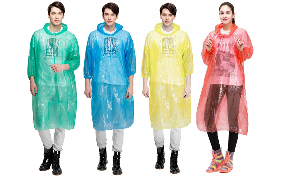 KapscoMoto Disposable Emergency Poncho Waterproof Raincoat, 4Pack for AdultsΧld For Family Travel Camping