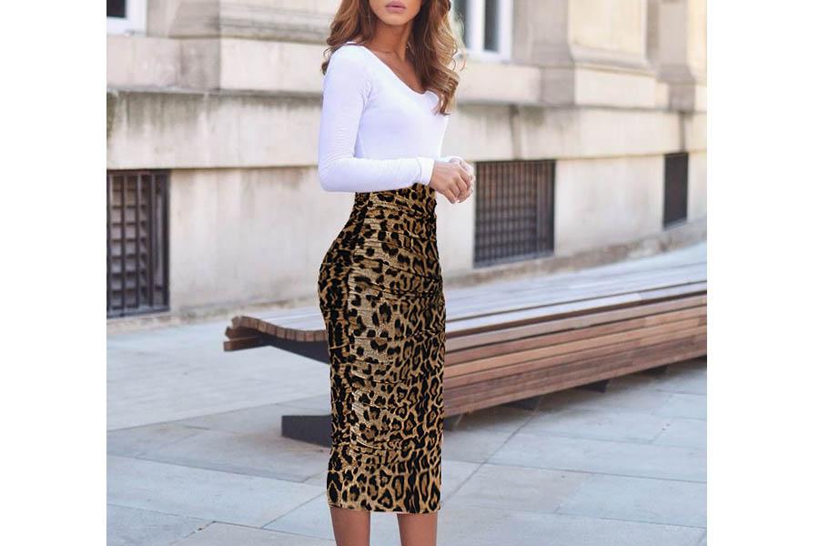 e94349d8d8 VfEmage Womens Elegant Ruched Frill Ruffle High Waist Pencil Mid-Calf Skirt